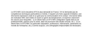 Lettre de motivation BTS NRC