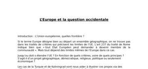 L'europe et la question occidentale