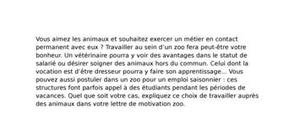 Lettre de motivation zoo