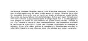 modele lettre de motivation vendeur decathlon
