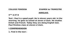 Test anglais classe 5ème