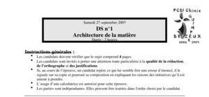 Ds n°1 architecture de la matière