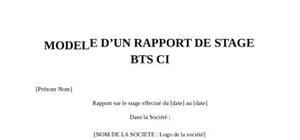 Rapport de Stage BTS CI