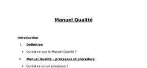 Le manuel qualité du l'entreprise