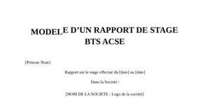 Rapport de Stage BTS ACSE