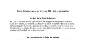 Fiche de Lecture CE2