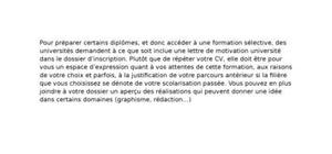 Lettre de Motivation Université