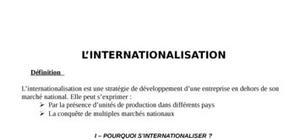 L'internationnalisation