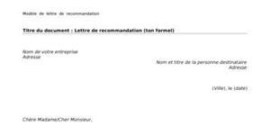 Lettre de recommandation de différents types