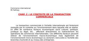 Le contexte de la transaction international