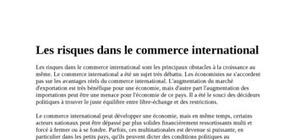 Les risques dans le commerce international