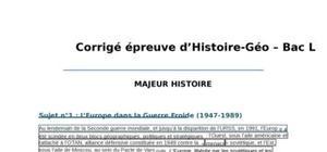 Corrigé Histoire-Géographie : Bac L 2012