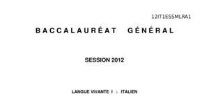 Sujet Italien LV1 Bac ES 2012