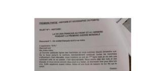Sujet d'Histoire-Géographie Brevet 2012