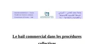 Le bail commercial dans les procedures collectives