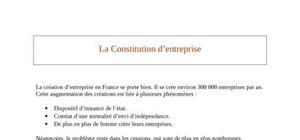 La constitution d'entreprise
