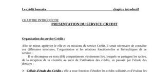 Le service et les types des crédits