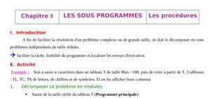 Les les sous programmes (fonction et procédure) analyse, algorithme avec traduction pascal