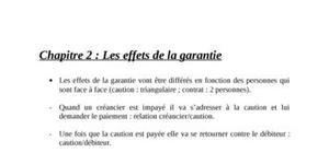 Les effets de la garantie