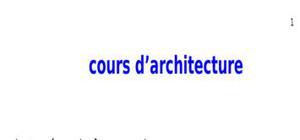 Cours d'architecture