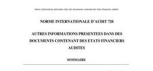 Isa720 autres informations presentees dans des documents contenant des etats financiers audites