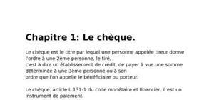 Le chèque.et conditions d'utilisation