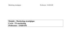Marketing strategique