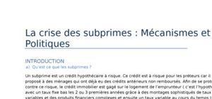 La crise des subprimes : mécanismes et politiques