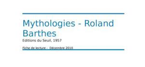 Rolland barthes - mythologies