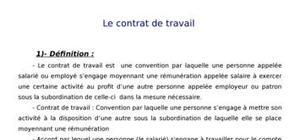 Le contrat de travail