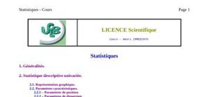 Licence sientifique en statistique
