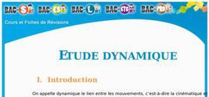 L'étude dynamique : Cours Terminale S