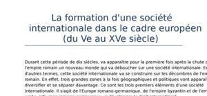 Les relations internationales (partie 2): la formation d'une société internatio-nale dans le cadre européen (du ve au xve siècle)