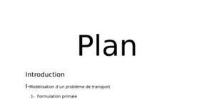 Modélisation d'un problème de transport