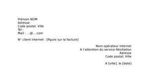 Lettre de résiliation Internet Déménagement