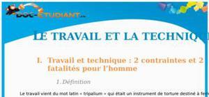 Le travail et la technique : Cours Terminale ES - S - L