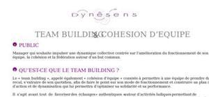 Le team building et cohésion d'équipe