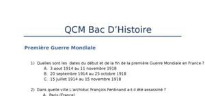 Date importante qcm histoire