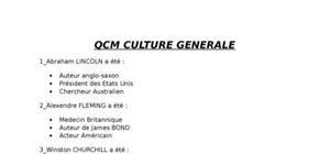 Qcm culture generale