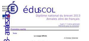 Correction Sujet 0 Brevet Français 2013 : Exemple n° 2 (Générale)