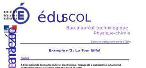 La Tour Eiffel : Sujet 0 STD2A (Physique-Chimie)