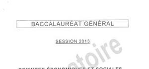 Sujet SES Obligatoire - Pondichéry 2013 : Bac ES