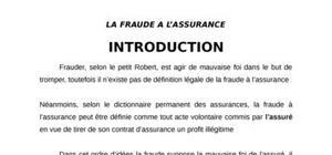 La fraude en matière d'assurance