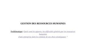 Gestion des ressources humaines: apports et difficultés
