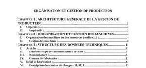 Organisation et gestion de production