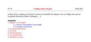 Configurations du plan 2nde