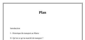 L'organisation du marché de transport au maroc
