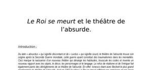Exposé : le roi se meurt de ionesco et le théâtre de l'absurde