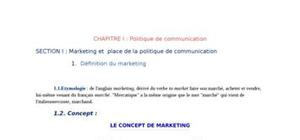 Marketing et place dela politique de communication