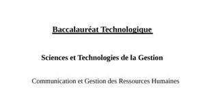 Sujet CGRH STG : Communication et Gestion des Ressources Humaines